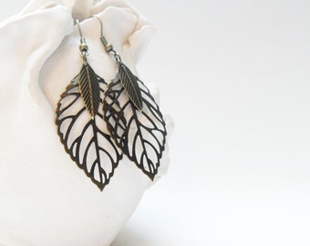 Bohemian Leaf Earrings, Stamped Metal Bronze Feather Earrings
