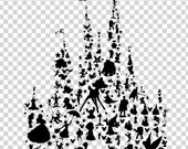 disney character silhouettes castle.. digital download