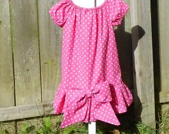 Girls pink polka dot dress - Sally Brown Costume - Girls dress up dress - 100% cotton