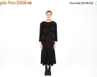 10,000 LIKES 7 Day Sale SALE! 80s Faux Fur Plush Textured Velvet Feel Long Sleeve Midi Dress