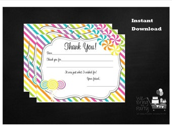Candy Party Themed Thank You Note, Instant Download, Birthday Party Thank You