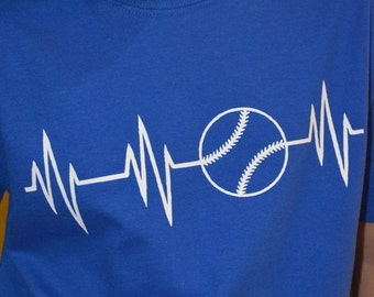 ON SALE Baseball, Heartbeat, Kids T Shirt, Baseball Heartbeat, Soccer, Softball, Volleyball, Football, Lifeline, Children, Boy, Girl, Kids,