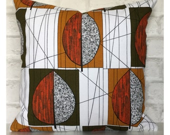 "Original Vintage 1970s French Fabric Cushion Cover Mid Century 18"" x 18"""