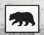 Bear Printable. Black & White Bear Silhouette Woodland Animal Print. Rustic Wall Art Nursery Home Office Decor. Instant Download DIY Print