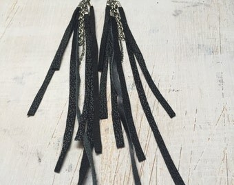 Shredded Leather Earrings
