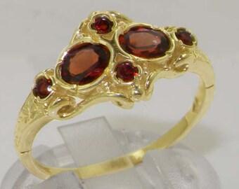 9k Yellow Gold Natural Garnet Womens  Cluster Ring - Customizable Platinum,9K,10K,14K,18K Yellow, Rose or White Gold