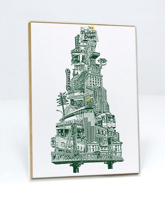 SET - Portland, Oregon Christmas Tree Holiday Notecard -  5x7 // Set of 6