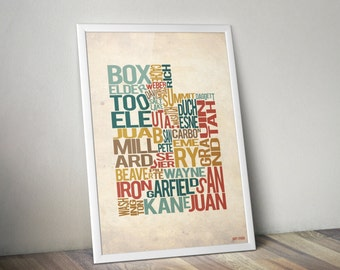 Utah by County - Typography Print