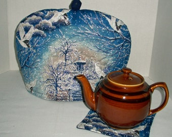 Swans in Winter on Blue - Quilted Dome Tea Cozy with Trivet
