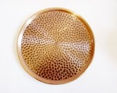 German Vintage Rustic Round Hammered Copper Tray from the 70s; Rustic Folk Art Retro Home Decor