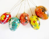 Set of 5 pieces German Vintage Handpainted Plastic Easter Eggs Ornament /made in the DDR Erzgebirge