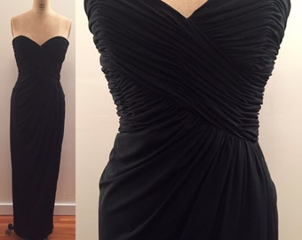 Victor Costa vintage black strapless ruched jersey knit gown