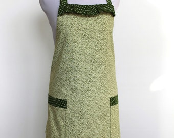 Green and white floral - Polka Dot Cotton Apron with two pockets is fully lined
