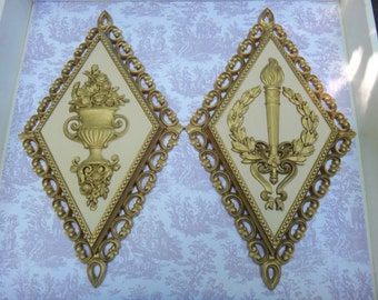 Syroco Plaques SET, HOMCO 7225 7227, Diamond Plaques, Gold Diamonds, Floral Urn, Olympic Torch, Gold Plaques, Classical Art, Laurel Leaf
