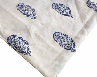 Hand Blockprinted Linen Fabric - Order Your Own Pattern - Indigo White Block Printed Linen Fabric - Upholstery and Curtain Linen Fabric Yard