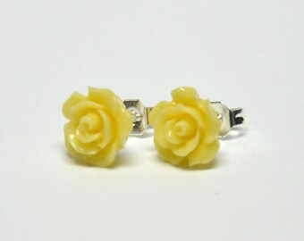 Tiny Yellow Rose Earrings - Flower Earrings - Silver Stud Earrings - Spring Inspired Jewelry