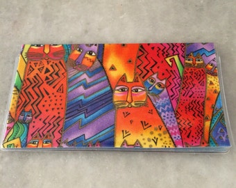 Checkbook cover rare out of print Laurel Burch vintage fabric