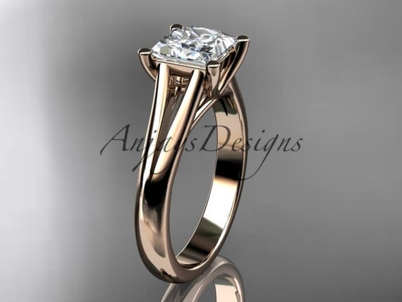 "14kt rose gold unique engagement ring, wedding ring, solitaire ring with a ""Forever One"" Moissanite center stone ADER143"