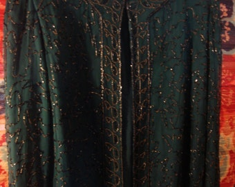 Vintage 1997 Boho Gypsy Hippie Chic Deep Green Embellished Sequin Beaded Jacket