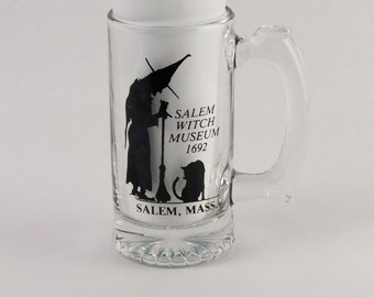 Vtg Salem Massachusetts Witch Museum Drinking Glass Mug Halloween Holiday Black Cat