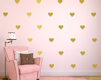 "Gold Heart Decal, Heart Decals Colors,  Heart Wall Decals, Gold Wall Decal, Gold Wall Decor, Available 2"" thru 12"" Hearts"