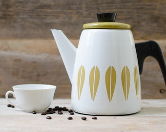 Vintage Cathrineholm Grete Prytz Kittelsen Mustard Lotus Coffee Pot - Mid Century
