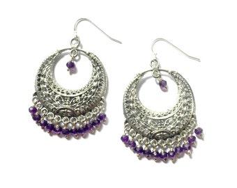 Silver & Stone Chandelier Earrings