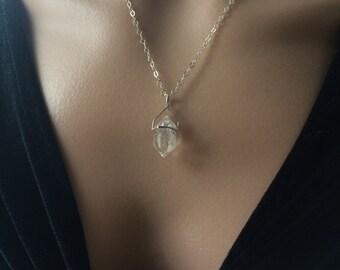 Herkimer Diamond Necklace, Herkimer Diamond, Raw Herkimer Diamond necklace