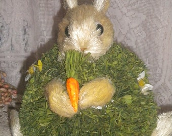Cute Chubby Straw Rabbit with Carrots, Collectible, Easter, Bunny Collector, Rabbit