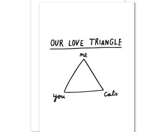 Our Love Triangle - You, Me, Cats Card