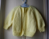 Vintage handknit baby sweater / Lemon Yellow Spring Sweater /Tunic style cardigan sweater / knit baby jumper / baby 12 to 18 months