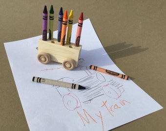 Wooden Toy Train Crayon Car/ Crayon Holder