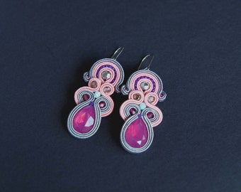 soutache earrings, pink earrings, gift for woman, embroidery earrings, bridal earrings, wedding earrings, gift for girl, mother's day