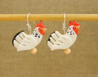 Delaware chicken earrings, Chicken gifts, Chicken, Pet chicken, Chicken lover, Chicken earrings, White earrings, Bridesmaid gifts