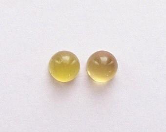 Natural Yellow Beryl, Unheated, Round Cut Cabochon, lot (2) of 4.91 carats