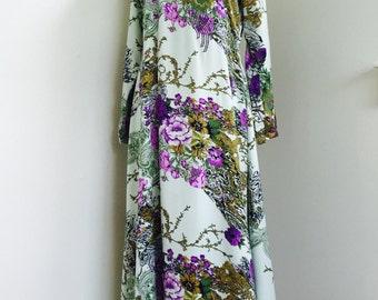 Vintage Silk Kaftan Dress / Bohemian Dress Festival Romance Dress