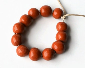 Beads from South Africa, African beads, handmade beads, ceramic beads, pottery beads, orange beads,  beads, glazed beads