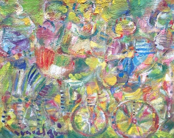 Miguel Gomez Bicycle painting. Oil on canvas . Colorful
