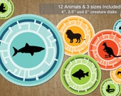 Wild Kratts Birthday Party Creature Power Disks INSTANT DOWNLOAD - 12 Animals in 3 different sizes - DIY Self Printable File Only