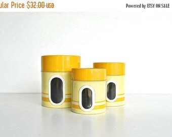ON SALE Yellow Nesting Kitchen Canister Set - Metal Canisters