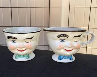 Vintage Baileys Winker Teacups Set of 2