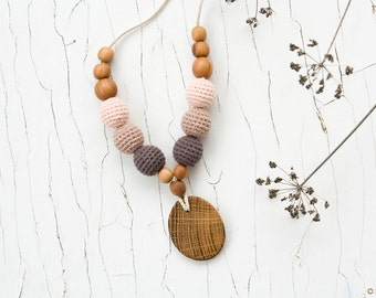 ORGANIC COTTON Nursing Necklace - Babywearing, Breastfeeding, Baby Teether, Applewood, Oakwood - FrejaToys