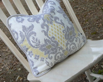 Pillow 29 Gray Yellow Damask Pillow