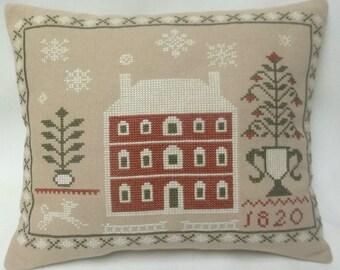 House Winter Sampler Cross Stitch Mini Pillow