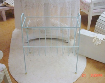 Retro Magazine Stand Mid century Modern French Blue Cottage Country Chic