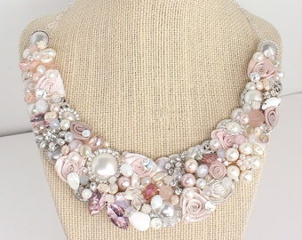 Blush Bridal Bib Necklace-Pink Floral Statement Necklace- Blush Pink Necklace- Champagne Pink Bridal Bib- Bridal Statement Bib-Rose Gold Bib