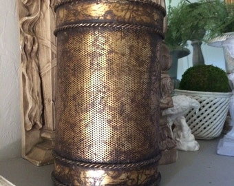 Vintage Gilt Metal Tole Trashcan Gold Trash Can Hollywood Regency Trashcan
