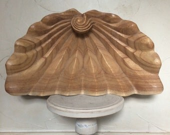 Vintage Carved Wood Clamshell Bowl