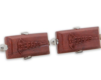 Red Jasper Caduceus Doctors Gothic Rectangular Cuff Links Sterling Silver 925