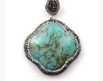 Pave Marcasite Turquoise Statement Pendant